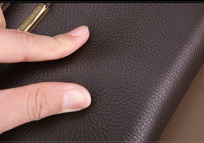 ví cầm tay da thật