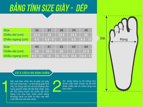 size giày Việt Nam